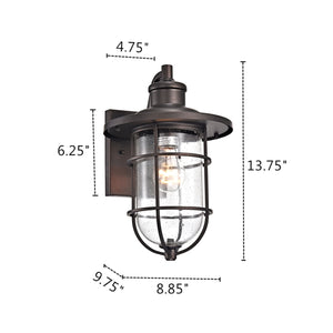 MARKUS Transitional 1 Light Rubbed Bronze Outdoor Wall Sconce - renaissance Lighting