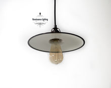 Load image into Gallery viewer, RAL Industrial Pendant with 10  Flat  '' Porcelain shade , Antique brass finish - renaissance Lighting