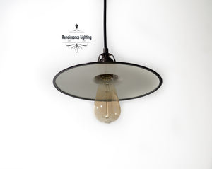 RAL Industrial Pendant with 10  Flat  '' Porcelain shade , Antique brass finish - renaissance Lighting