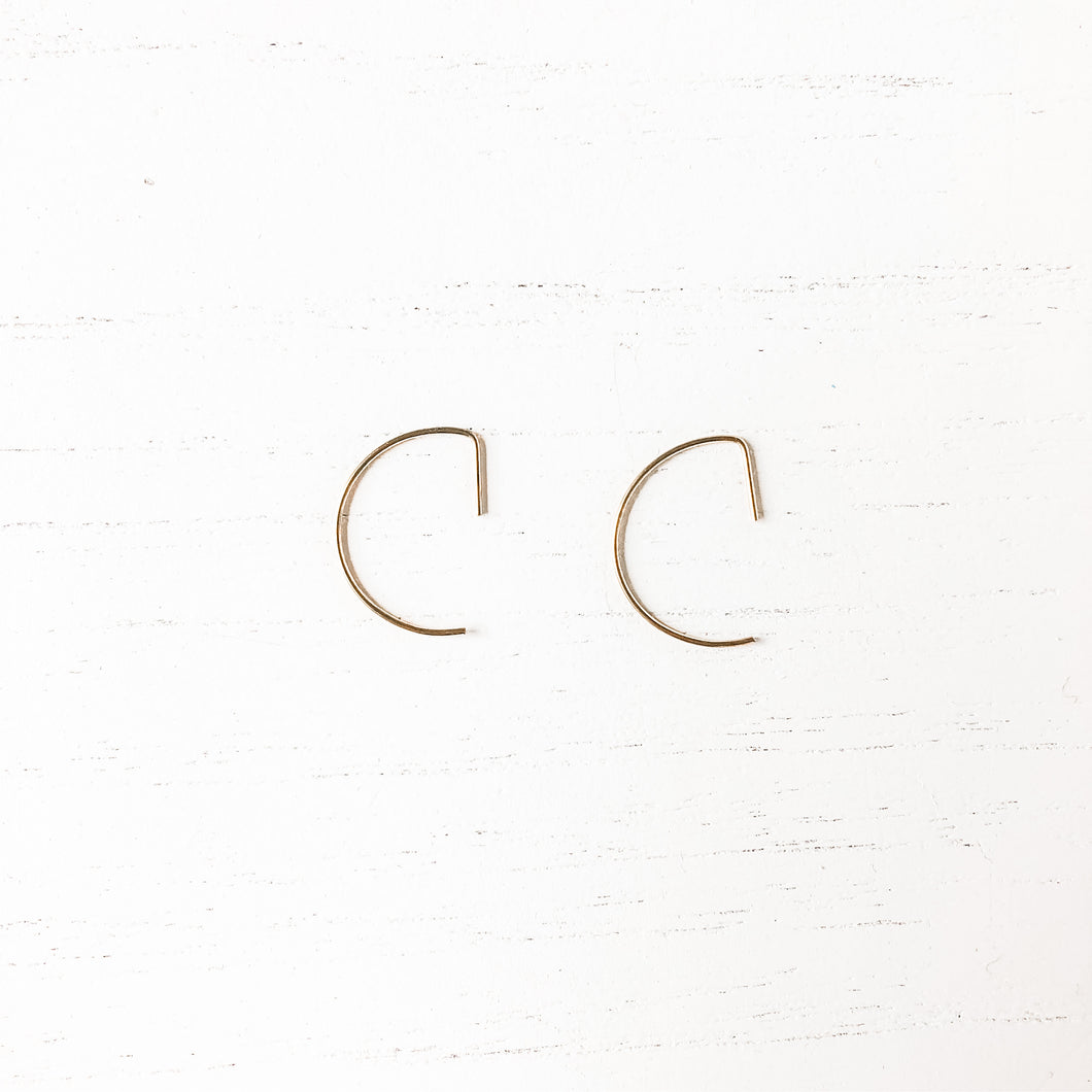 Brass Hoop Threader Earrings