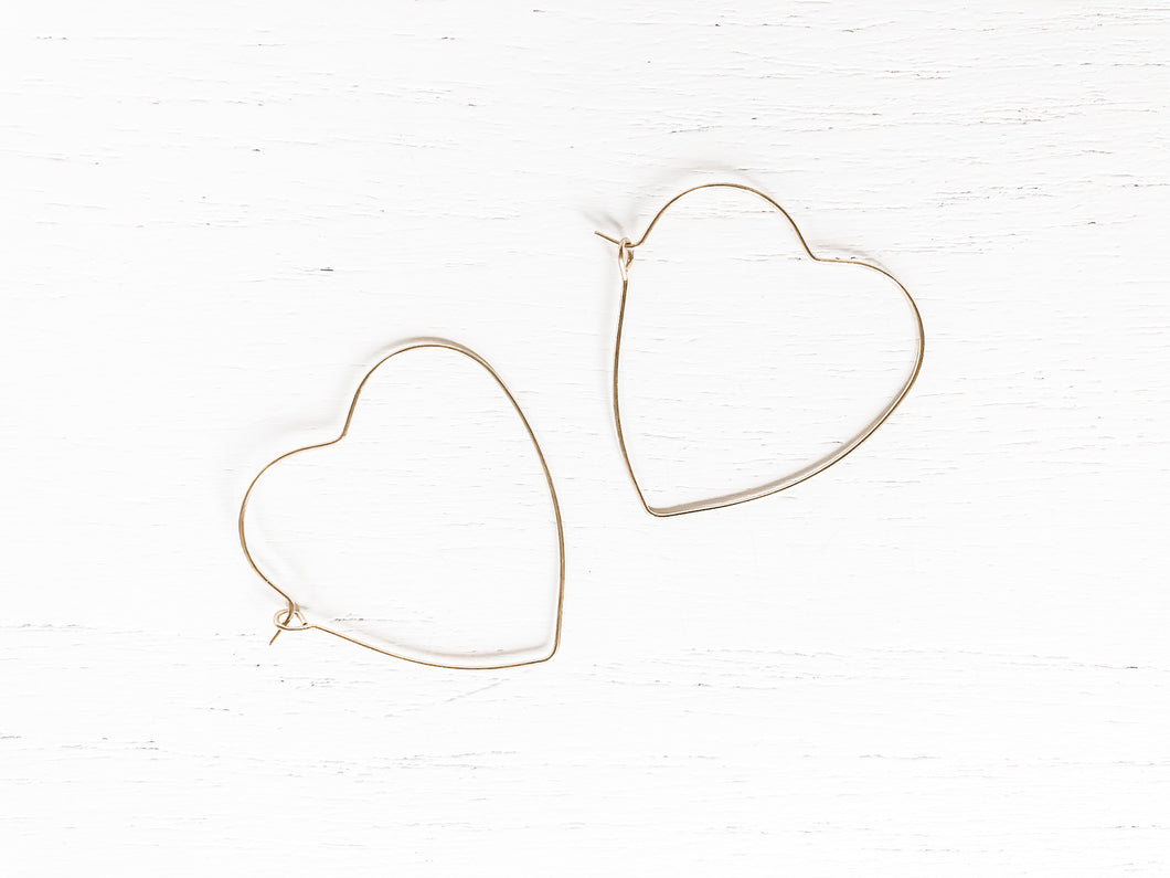 Brass Heart Hoop Earrings