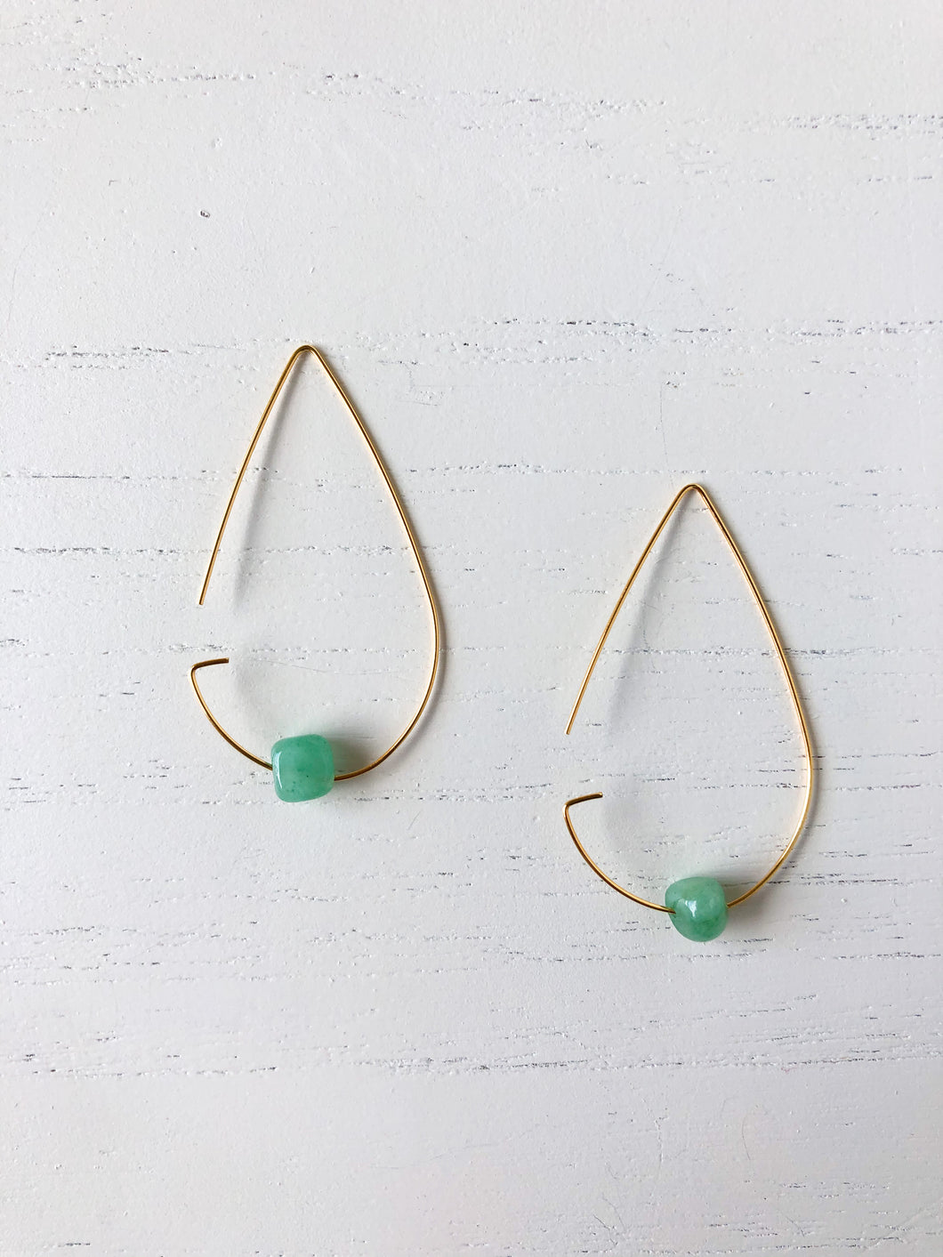 Brass Tear Drop Threader Earrings - Jade