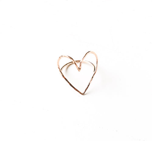 Hammered Open Heart Ring