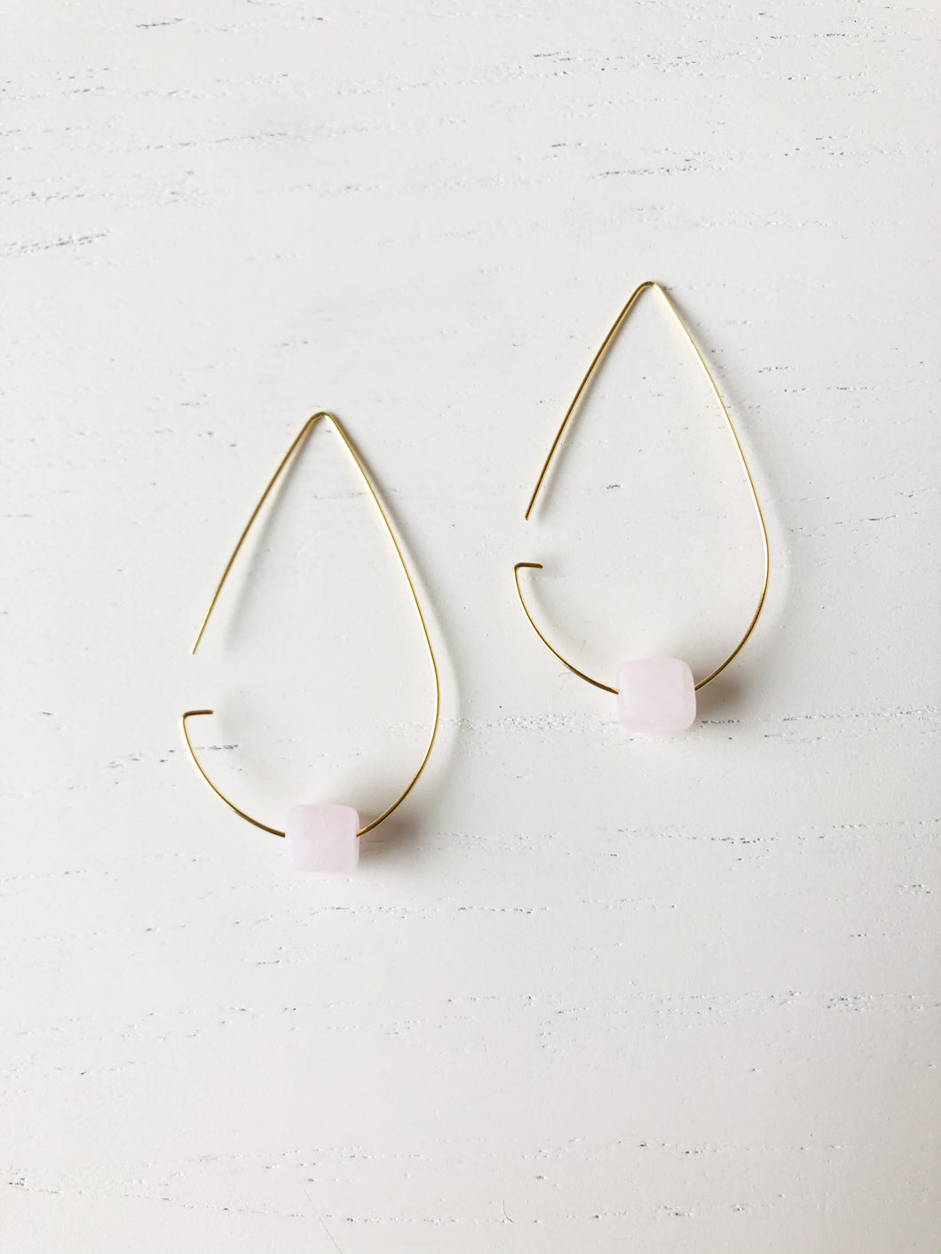 Brass Tear Drop Threader Earrings - Rose Quartz - Gold