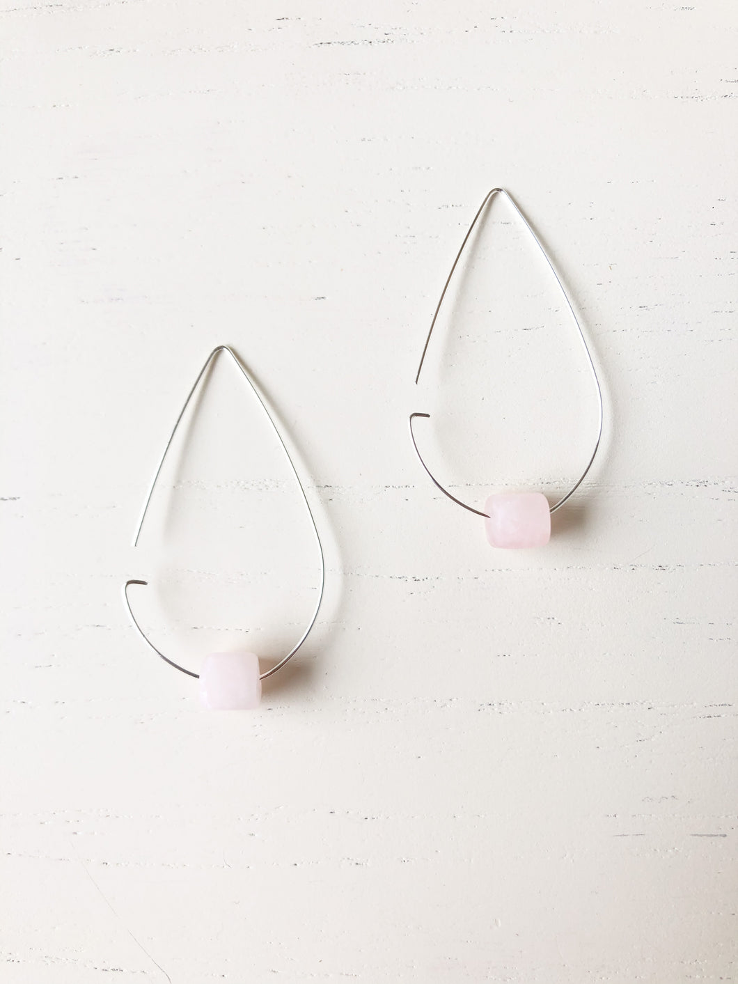 Brass Tear Drop Threader Earrings - Rose Quartz - Silver