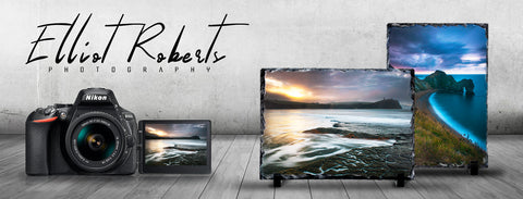 Photo Slate Designs by Elliot Roberts on display with Camera