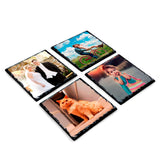 Set of 4 Photo slate coasters on white background featuring newly wed couple, couple on a bycycle, ginger cat and young child