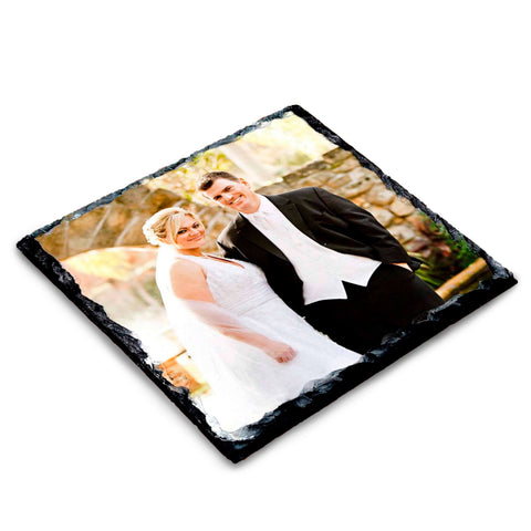 Photo slate coaster featuring newly wed couple