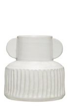 Load image into Gallery viewer, Ribbed White Vase, 2 Sizes