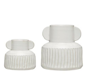 Ribbed White Vase, 2 Sizes