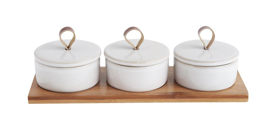 Stoneware Covered Pinch Pots with Bamboo Tray Set of 3