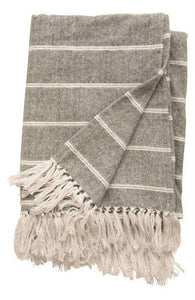 Brushed Cotton Striped Throw w/ Fringe, 2 Styles