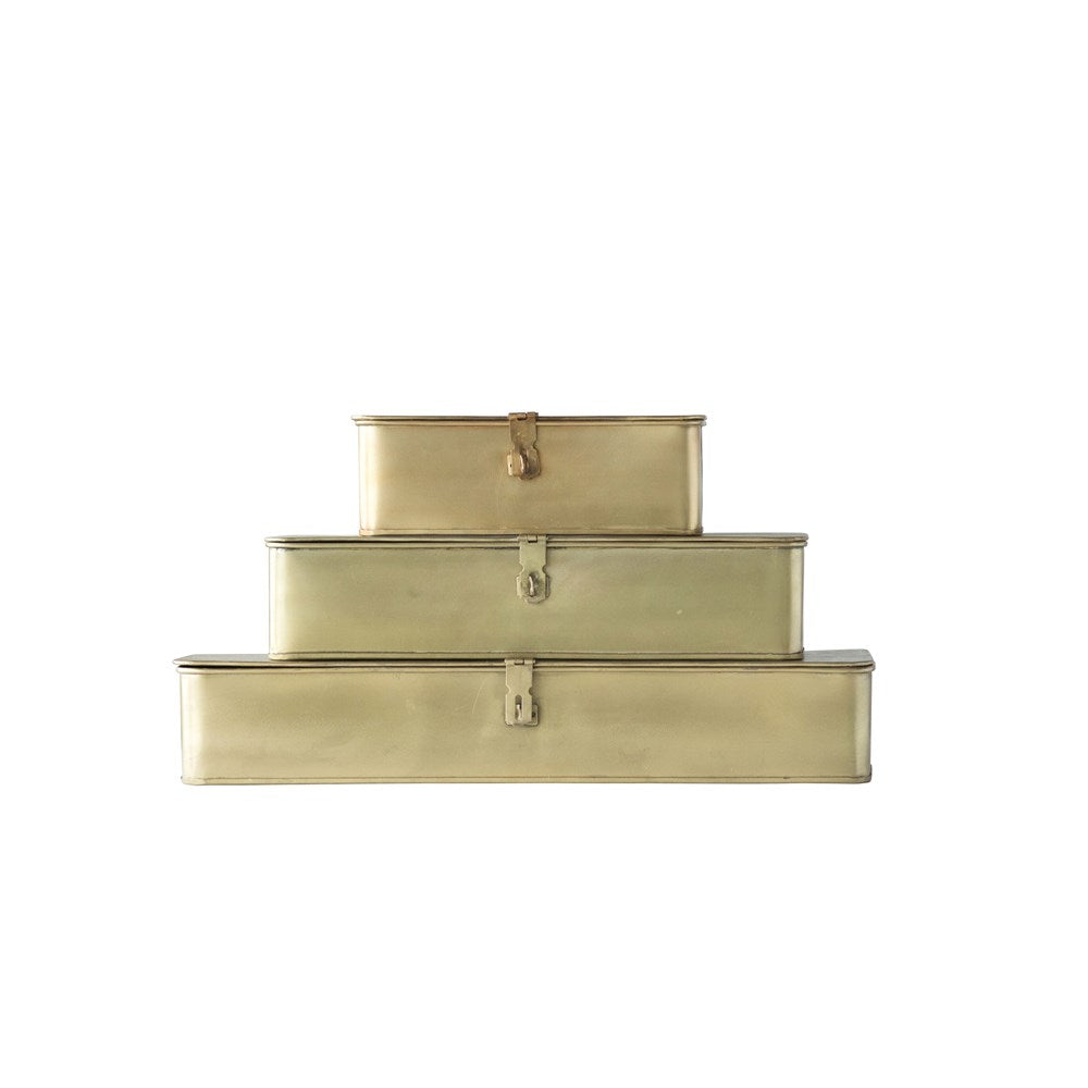 Decorative Metal Boxes, Brass Finish, Set of 3