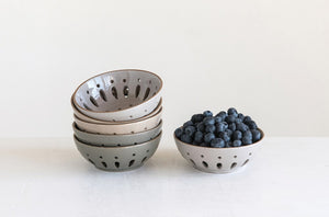 "Stoneware Berry Bowl, Set of 3, 5"" Round x 2""H"