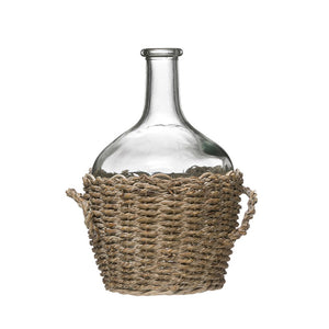 "Glass Bottle in Woven Seagrass Basket w/ Handles, 7-1/2"" Round x 10""H"