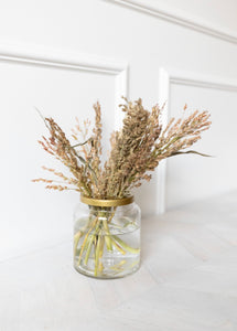Glass Vase with Brass Flower Lid