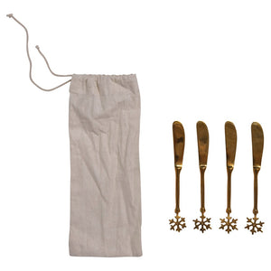 Brass Canape Knives w/ Snowflake Handle, Set of 4 in Drawstring Bag
