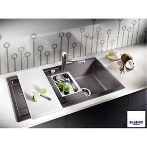Blanco Silgranit Metra 6S Double Bowl + Drainer - Rock Grey