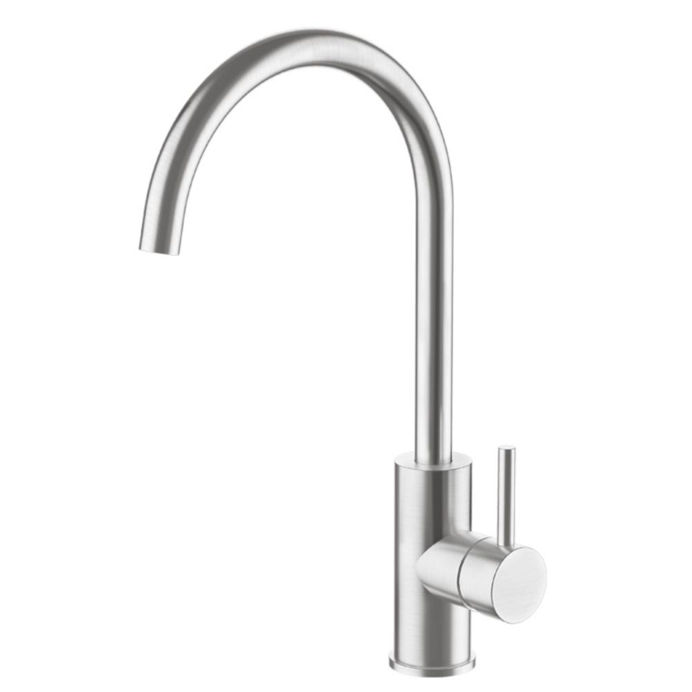 Swiss Kitchen Gooseneck Mixer - Brushed Stainless Steel