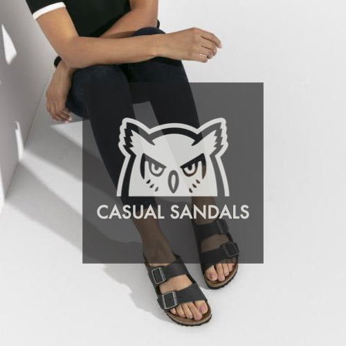 Woman wearing casual sandals (Birkenstock).