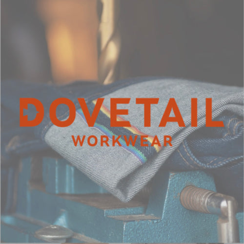 Dovetail Workwear logo over a photo of women's work pants