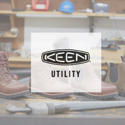 Keen Utility Logo over a picture of women's work books in a work shop
