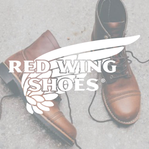 Red Wing Shoes logo over a photo of women's work boots