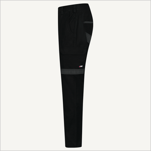 Product shot of BAD 925 Work Pants in Black. Side view.