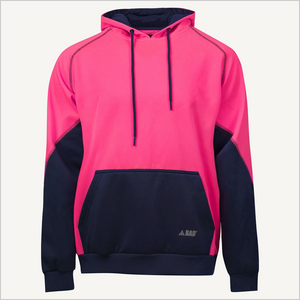 Product photo of BAD Essential Women's Pink Hi-Vis Fleece Hoodie. Front view.