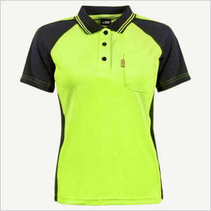 Woman's BAD Hi-Vis Yellow Polo. Front view.