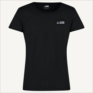 Front view of BAD Women's Trademark T-shirt in black.