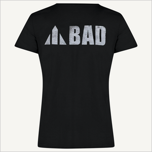 Back view of BAD Women's Trademark T-shirt in black.