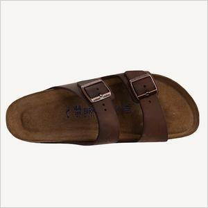 Top view of Birkenstock Arizona Oiled Leather Soft Footbed Sandal in Habana.