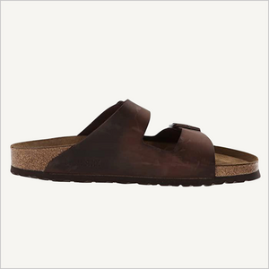 Side view of Birkenstock Arizona Oiled Leather Soft Footbed Sandal in Habana.