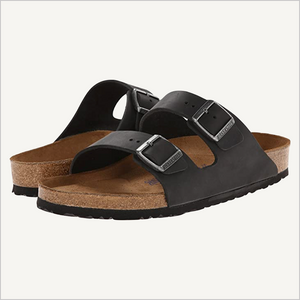 Side angle view of Birkenstock Arizona Sandal in black oiled leather