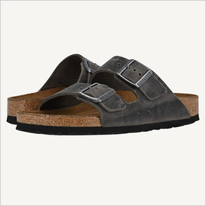 Side view of Birkenstock Arizona Sandal in Iron Grey