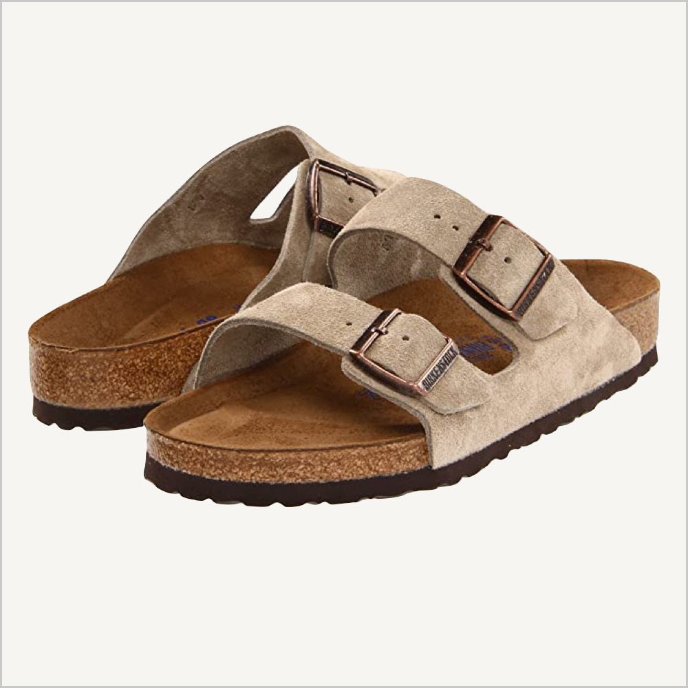 Side angle view of Birkenstock Arizona sandal in taupe suede