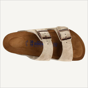 Top view of Birkenstock Arizona Sandal in taupe suede