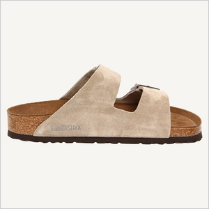 Side view of Birkenstock Arizona Sandal in taupe suede