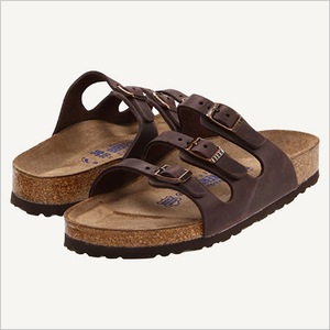 Front angle view of Birkenstock Florida three-strap sandal in habana brown leather