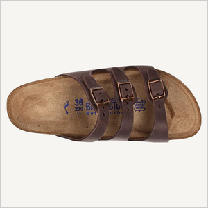 Top view of Birkenstock Florida three-strap sandal in habana brown leather