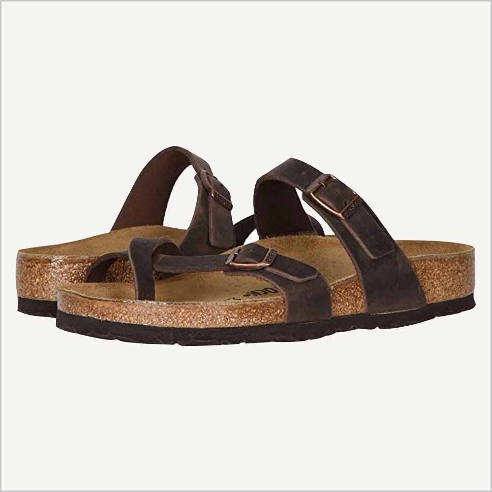 Front angle view of Birkenstock Mayari Sandal in habana oiled leather