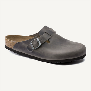 Side angle view of Birkenstock Boston Clog in Iron oiled leather