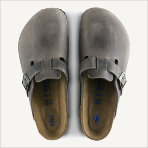 Top view of Birkenstock Boston Clog in Iron oiled leather