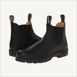 Side angle view of pair of Blundstone 558 Pull on boots in black