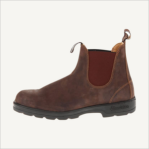 Side view of Blundstone 585 Pull on boot in rustic brown