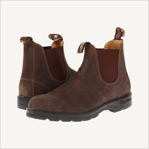Side angle view of pair of Blundstone 585 pull on boots in rustic brown