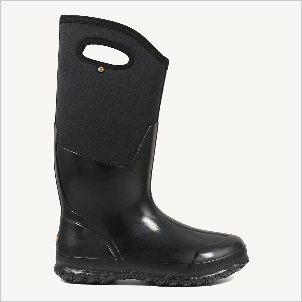 Side view of Bogs Classic High boot with handles in shiny black