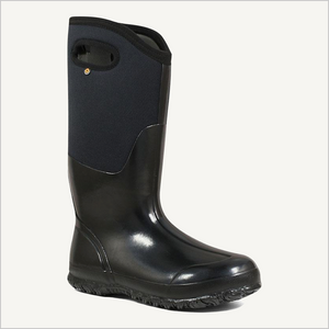 Side angle view of Bogs Classic High boot with handles in shiny black