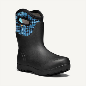 Side angled view of Bogs Neo-Classic Mid Tie Dye Boot in blue multi